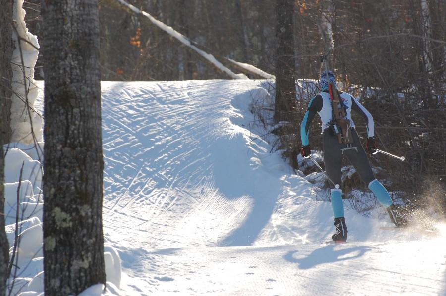 Kautzer skis up a small hill during one of the 2013 World Junior Championships trial runs in Presque Isle, Maine.
