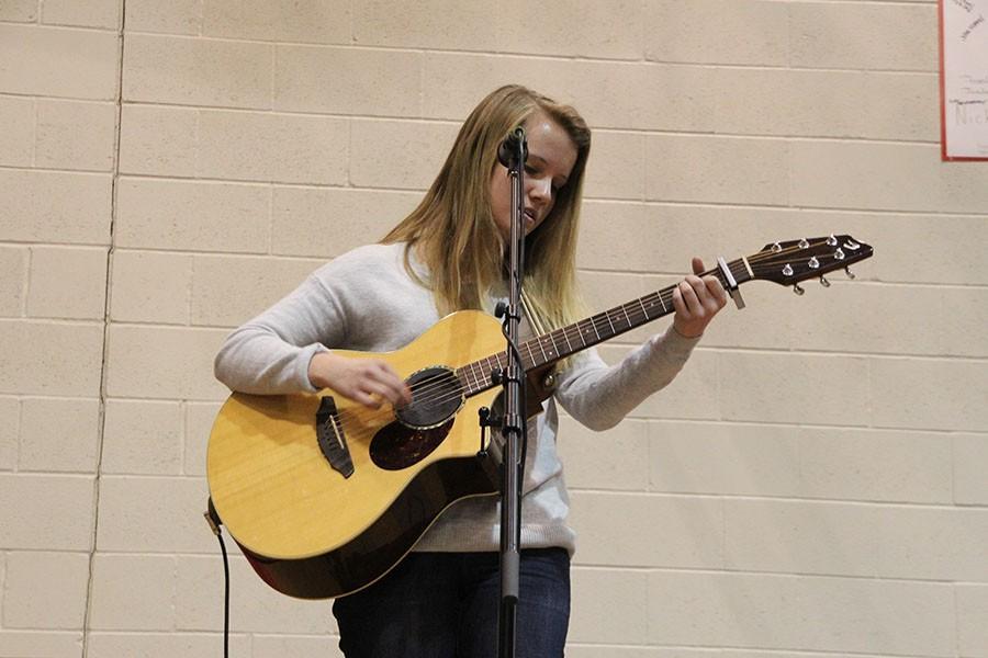 Sophomore Elizabeth Kupchella performed at the pep fest on Thursday.