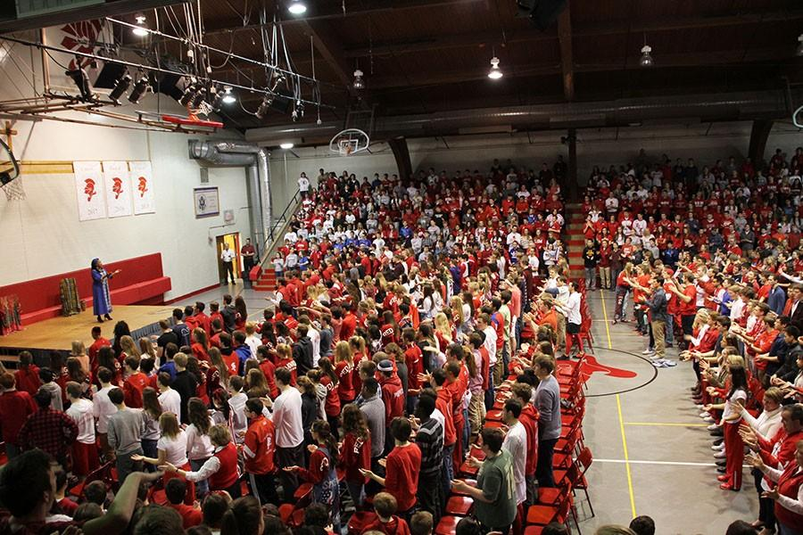The+entire+school+gathered+in+the+Great+Hall+for+the+pep+fest.