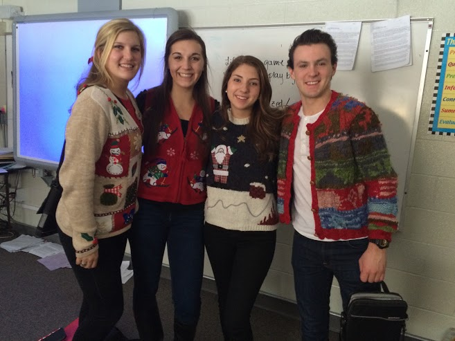 Students wore ugly Christmas sweaters to mass to celebrate the season.