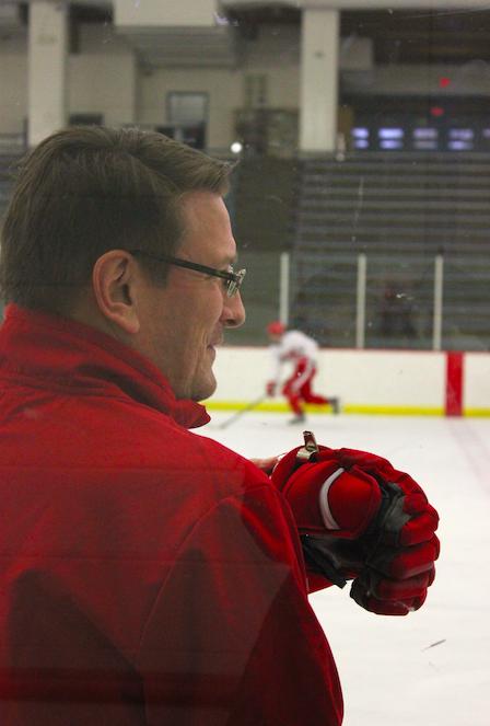 Head boys' hockey coach Ken Pauly presides over practice.