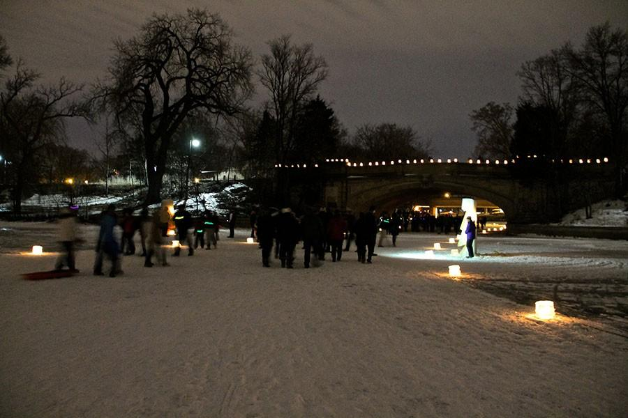 The Loppet Festival is historically located on the interconnected Lake Calhoun and Lake of the Isles.