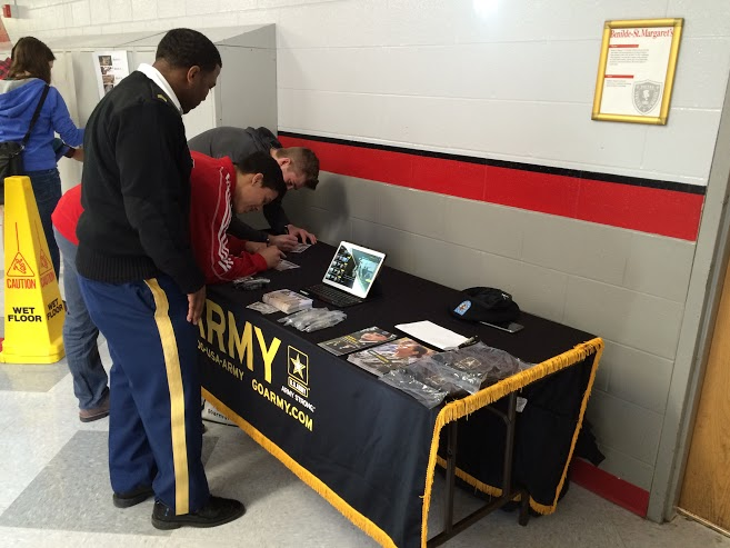 An+informational+booth+about+joining+the+army+was+set+up+during+lunch+periods++on+March+10.