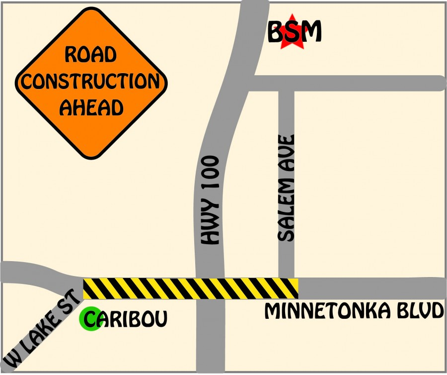 The construction on Minnetonka Boulevard and Highway 100 affects BSM students and faculty alike.