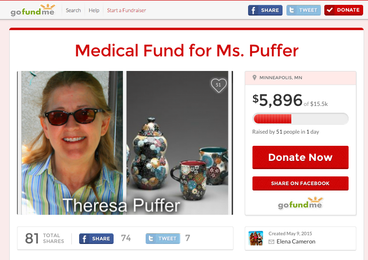 Students continue to donate to the website to alleviate the cost of Ms. Puffers medical expenses. (photo courtesy of gofundme.com)