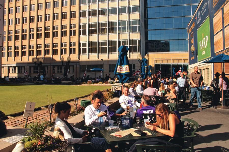 Brit's pub offers outdoor seating, perfect for your summer dining needs.