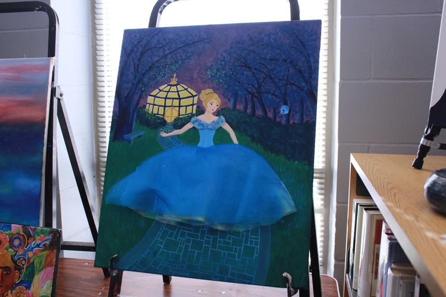 Rachel+Jungmann%27s+painting+of+Cinderella+displayed+at+the+BSM+Art+Fair.