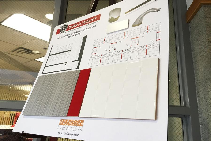 The plans for the new bathrooms have been laid out and can be viewed in the Main Lobby.