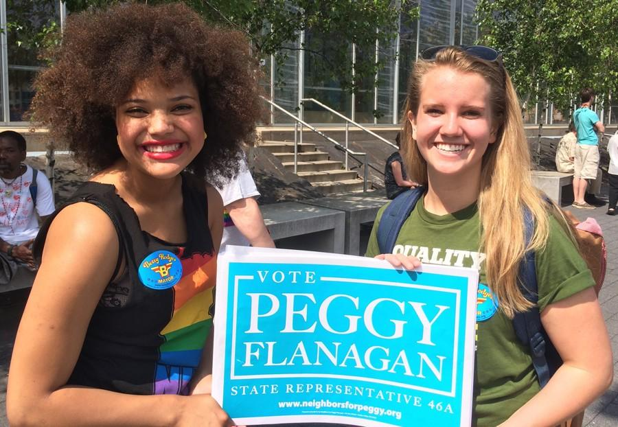 Elizabeth+Kupchella+and+her+co-intern+show+support+for+state+representative+candidate%2C+Peggy+Flanagan%2C+at+the+Twin+Cities+Pride+Parade.+