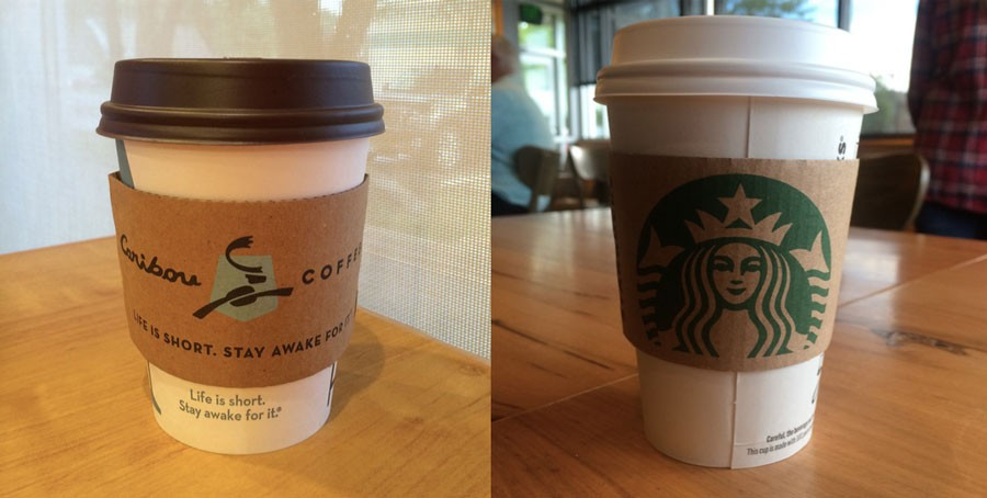 Take your pick. Both Caribou and Starbucks offer delicious holiday drinks.