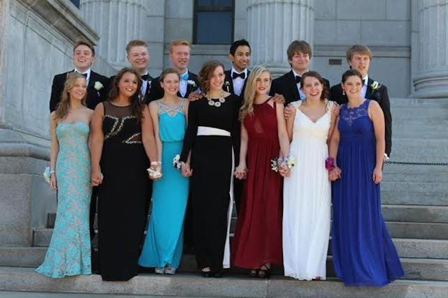 Korts (far left) at prom, wearing a back-up dress because her dress arrived two weeks late and in the wrong size.