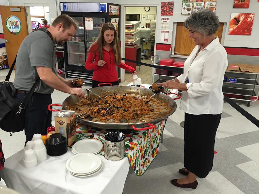 Students, faculty, and staff took advantage of Mr. Taher's visit and the paella he made.