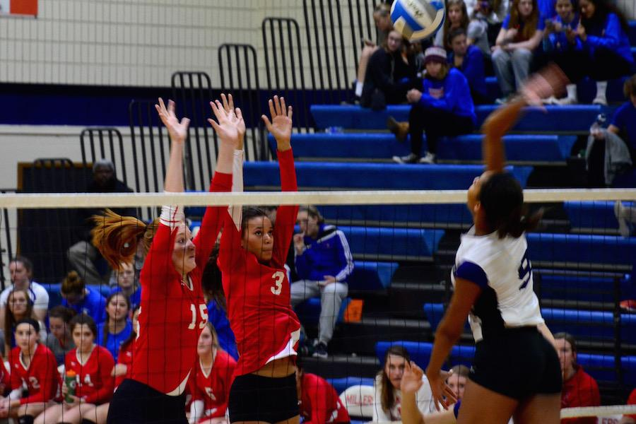 Paige Mazal and Maizy Jackson do everything they can to block the spike by a Southwest player.