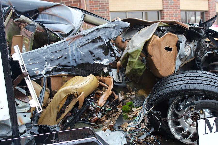 The Knightlife leaders wanted to show the dangers of driving while under the influence by bringing a damaged car to the school.