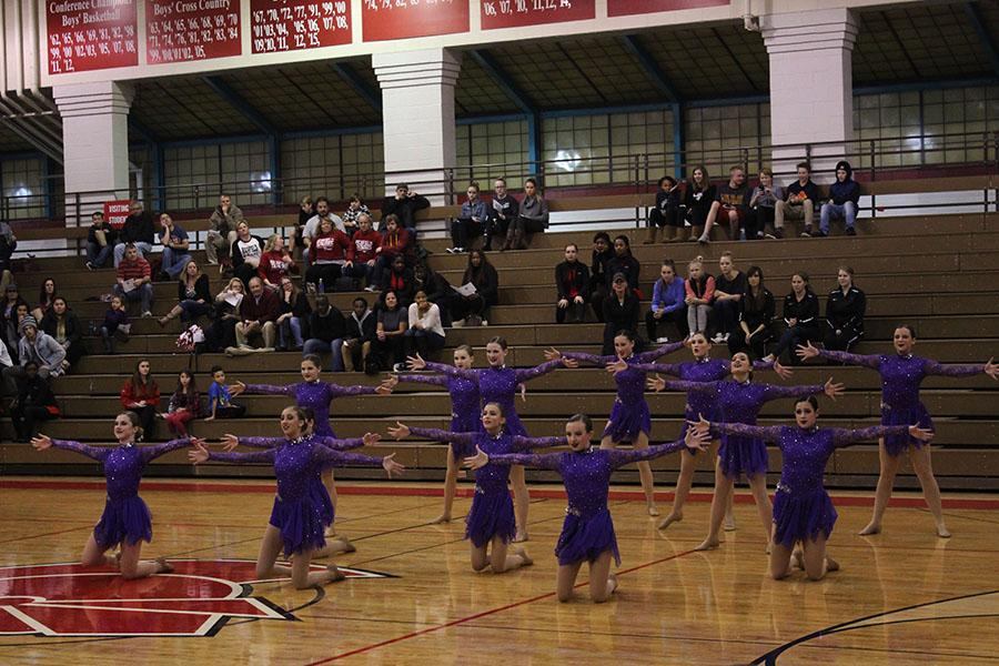 The Dance Team performs at the first Metro West Conference meet.