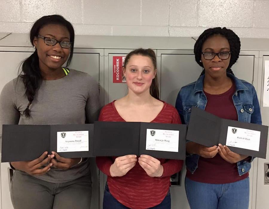 Award recipients Aeryuana Powell, Mikenzie Woog, and Ruth O'Diah were recognized for their efforts in the BSM community.