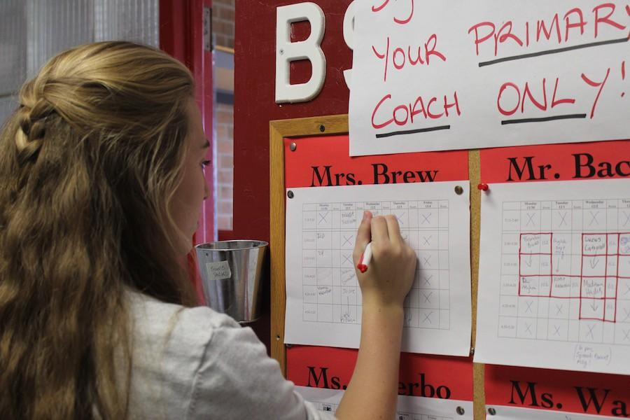 Speech participants sign up for their weekly one hour practices.