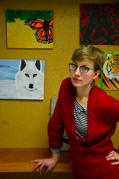 Students' paintings or art teacher Ms. Leah Klister's outfit: what's the real work of art?