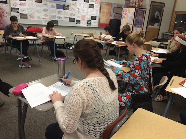 The cast of this year's One Act gathers for a preliminary read through of the script.