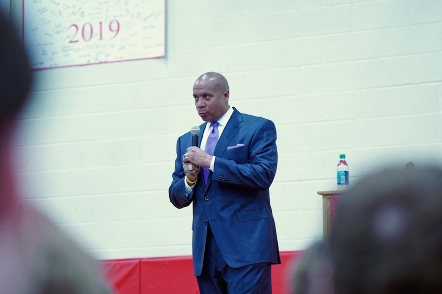 Kevin Warren spoke to the student body about his experiences and how he used his own faith to live his life.