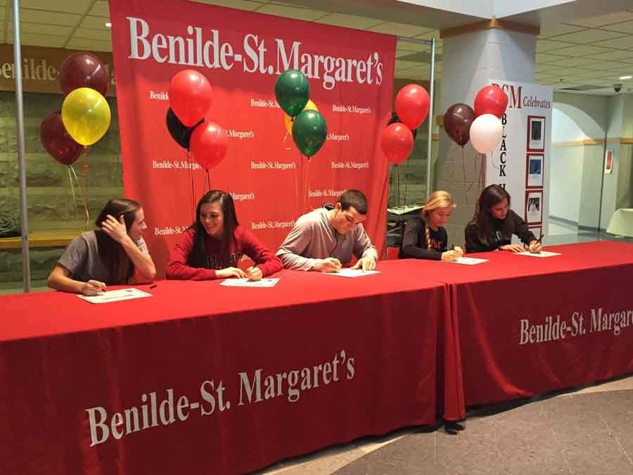 (from left): Tataryn, Gelling, Jacob, Roux, and Fullerton all signed on February 8.