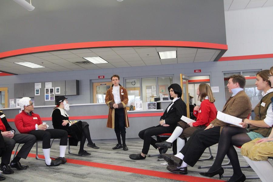 Seniors discussed European history as their characters.