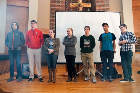 Latin students competed for the championship in the spelling bee after school on Tuesday.