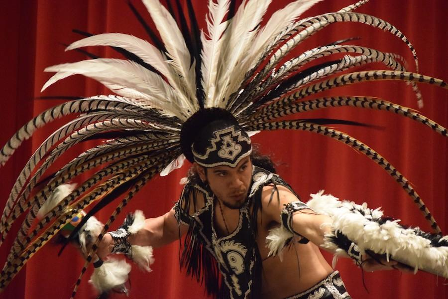 A Danza Azteca dance troupe was featured in the theater on Monday.
