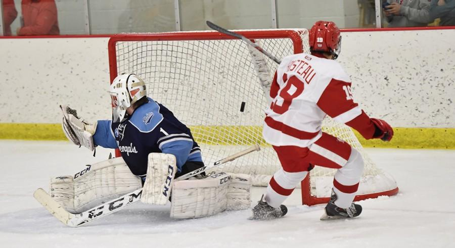 Risteau scores on a wide-open net as a Blaine goalie lunges the other way.
