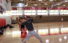 The baseball team practiced in the Haben Center for tryouts and for the first part of the season due to cold weather outside.