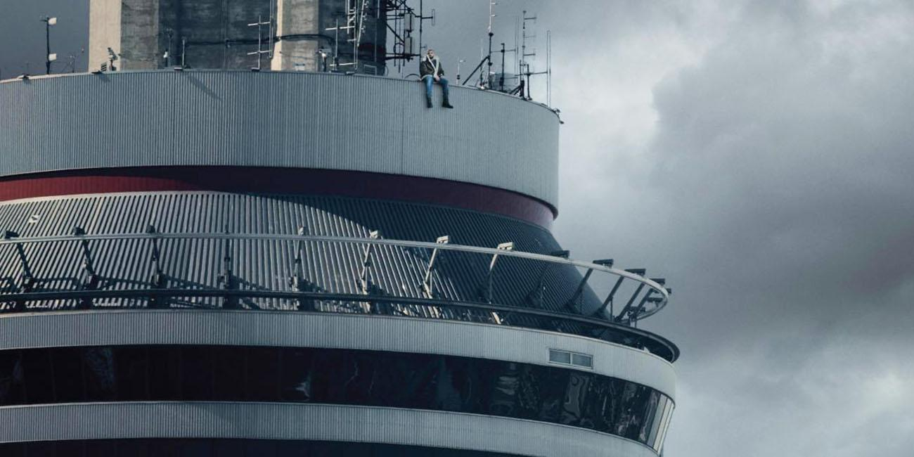 Drake sits atop Toronto's CN Tower in his hometown most likely brainstorming genius lyrics along the lines of