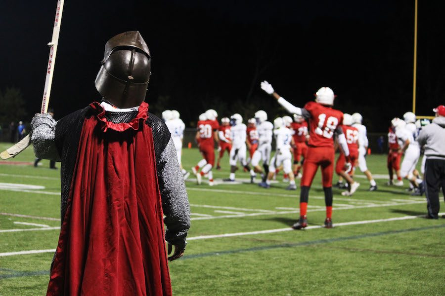 Frankie+Gormley+%28class+of+2016%29+dressed+up+as+the+Red+Knight+Mascot+for+a+football+game.