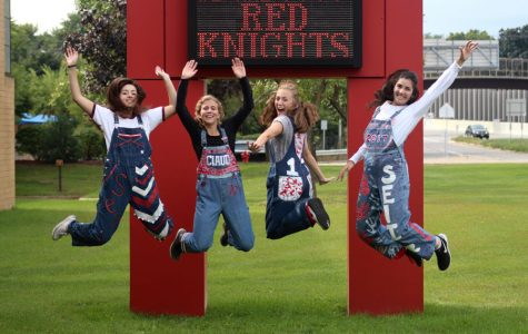 Seniors Kate Janda, Claudia Elsenbast, Molly Keady, and Lizzie Ambre jump with excitement as they prepare for Homecoming Week.