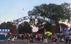 Minnesotan's traverse the Midway at dusk at this year's State Fair, eager to try out new food.