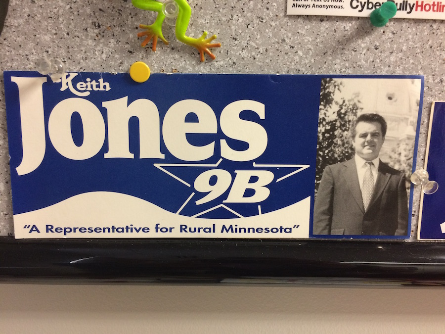 In 1998, Jones felt he could best represent Minnesota House District 9B. He has kept memorabilia as a reminder of this time.
