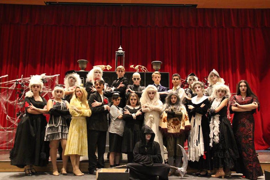 The+cast+of+The+Addams+Family+flash+Morticia+Addams%27+signature+pose+after+bringing+home+multiple+individual+awards+and+technical+awards.