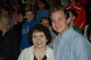 Ms. Rosalie Goldberg and junior Noah Bridges sang a traditional Jewish song to represent Judaism during the service.