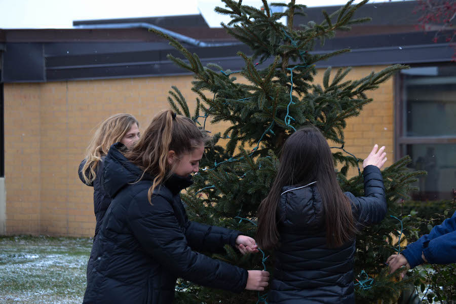 Knight Errant Designers and Editors decorate a tree to prepare for the Christmas Season.