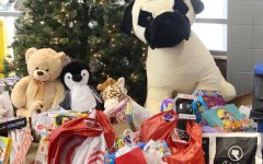 The toys collected for the Common Basket were placed underneath a Christmas tree in the library.