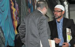 Tamim Saidi (right), who is of the Islamic faith, and Rabbi Avi Olitzky (left) joined the annual Interfaith Prayer Service. This service was implemented to allow the BSM community to acknowledge other religions.