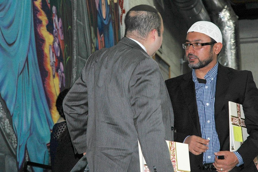 Tamim+Saidi+%28right%29%2C+who+is+of+the+Islamic+faith%2C+and+Rabbi+Avi+Olitzky+%28left%29+joined+the+annual+Interfaith+Prayer+Service.+This+service+was+implemented+to+allow+the+BSM+community+to+acknowledge+other+religions.