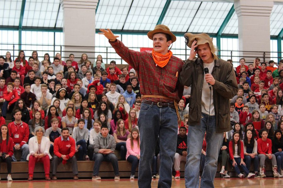 Eric Weber and his horse Carston Swenson emceed the pep fest to kick off Catholic Schools Week.