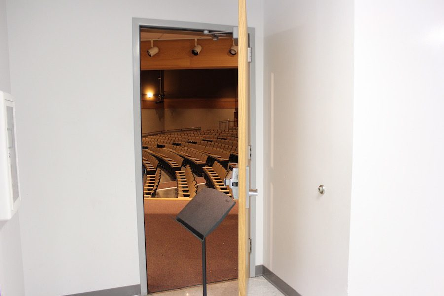 This door, which is located on the side of the Theater, is a secret entrance that leads directly to the band pit.