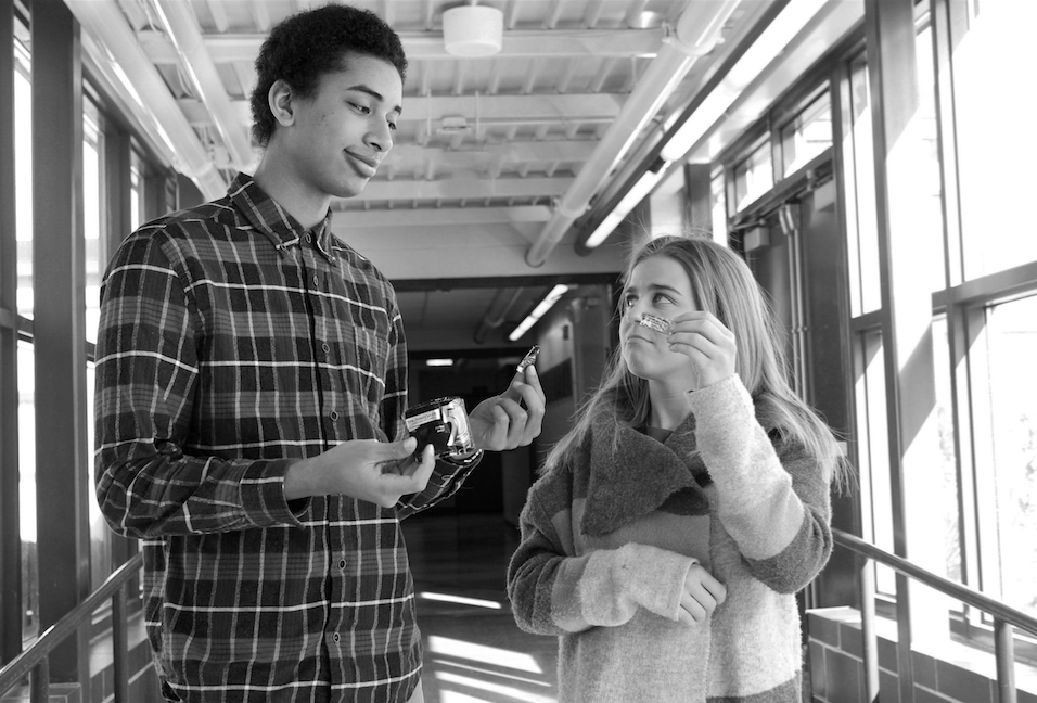 Nathanael Ashton-Piper and Claudia Elsenbast try to smile on the brink of tears after splitting a piece of gum.