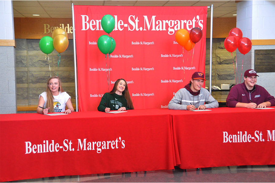 Four+BSM+athletes+signed+with+their+respective+schools+to+play+NCAA+Division+I+athletics+on+Thursday%2C+February+9.