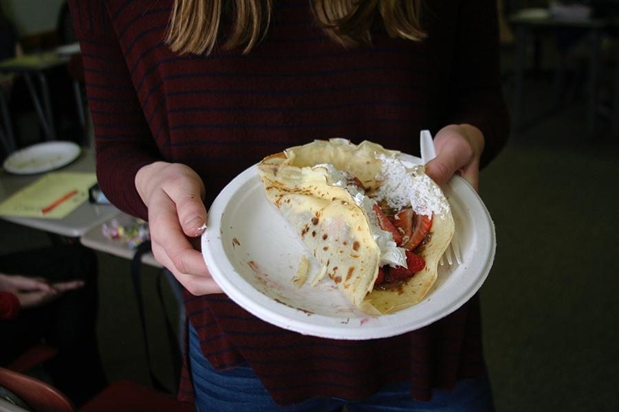 The French classes made Crêpes on Tuesday.