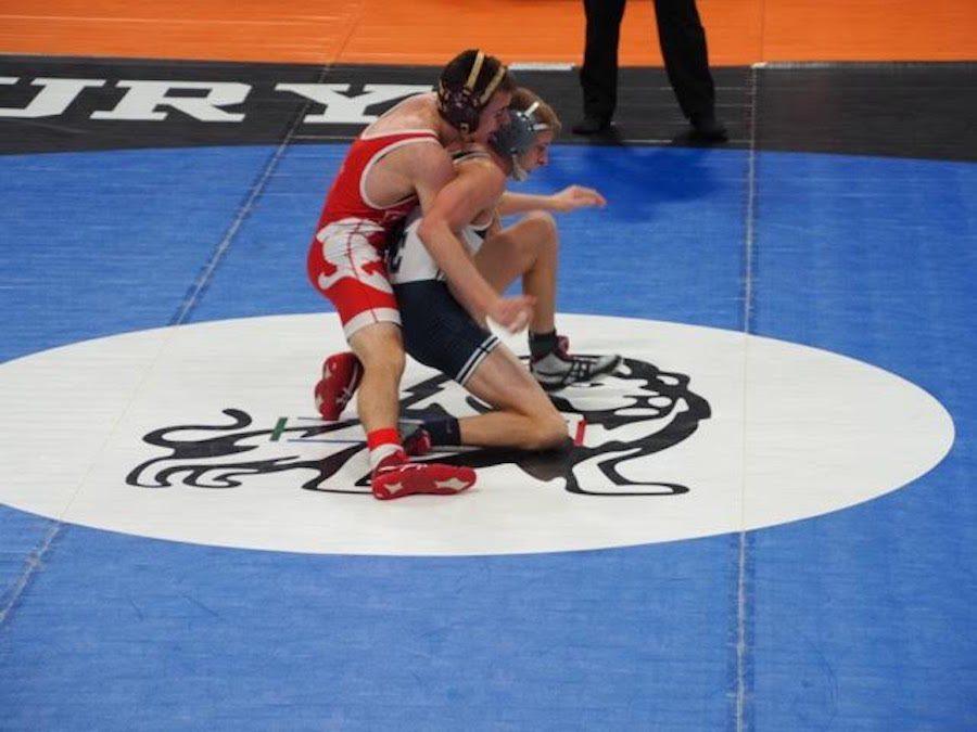 Senior+Zach+Bigelbach+wrestled+in+the+State+Tournament.