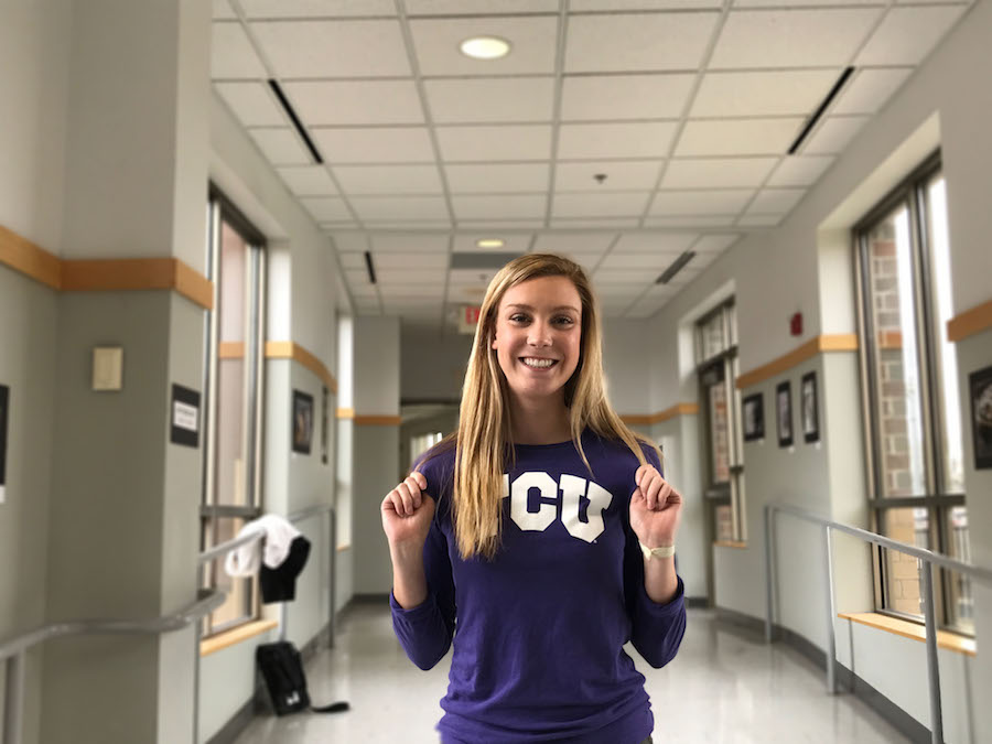 Senior Sam Huff is so excited to be a part of the Texas Christian University horned frog family next year.