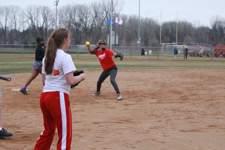 Junior Hannah Nichols fields a ground ball at practice.