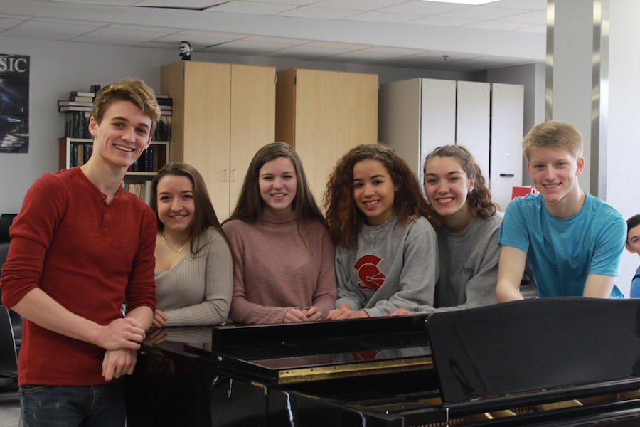 Many+students+from+both+choir+and+orchestra+participated+in+the+solo+ensemble+contest.+Choir+participants%2C+pictured+from+left+to+right%3A+Carson+Knoer%2C+Maddie+Turk%2C+Claire+Shinners%2C+Kailyn+Pedersen%2C+Maddie+Schafer%2C+and+Ty+Hansen.